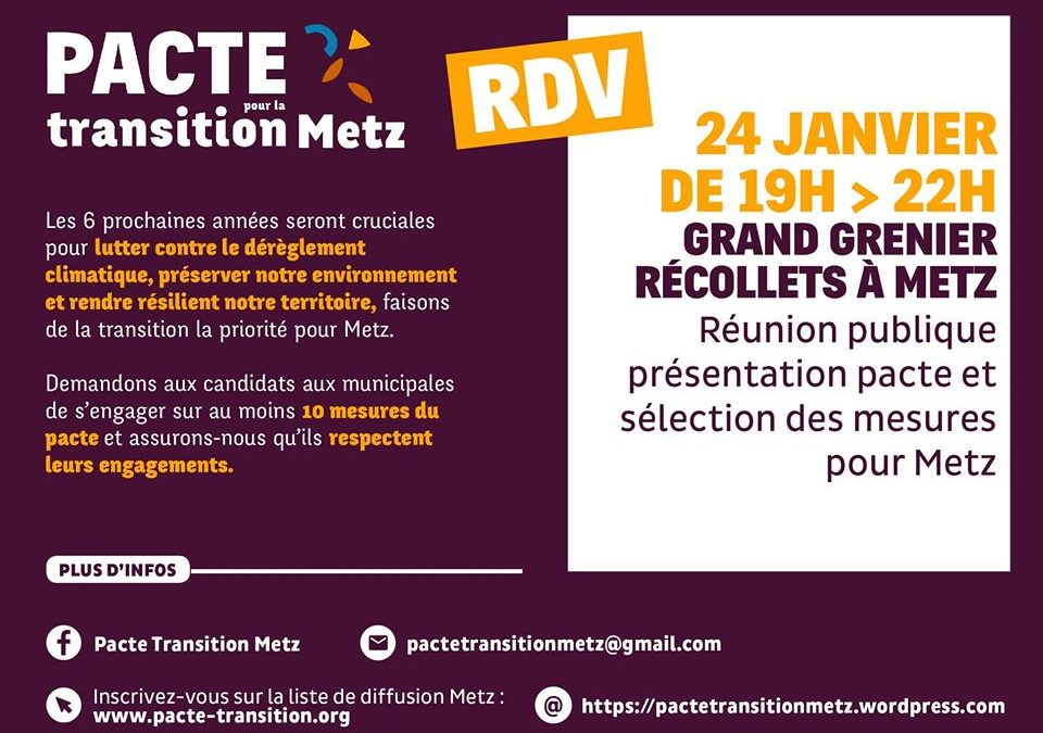 Réunion publique du Pacte pour la Transition le 24/01/2020