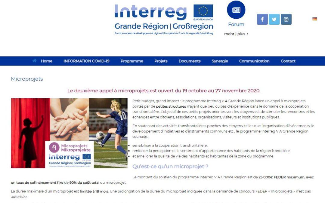 Interreg jusqu'au 27/11/20